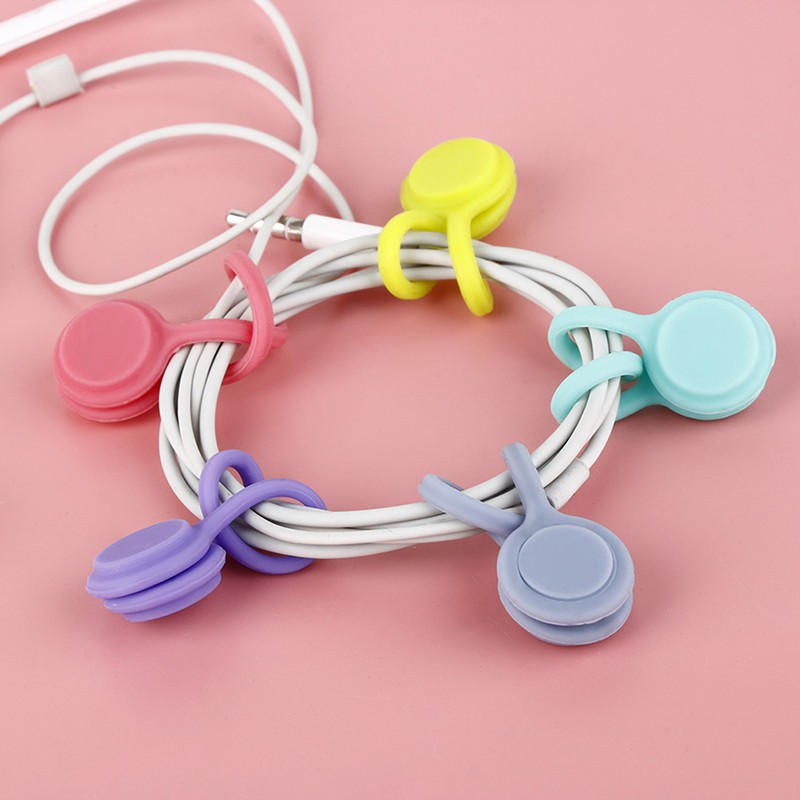 ★PHỤ KIỆN ĐIỆN TỬ★1PCS Silicone Magnet Coil Earphone Cable Winder Headset Type Bobbin Winder