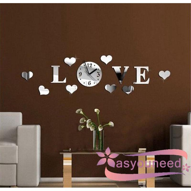 AydღNew DIY Clock Love Heart Mirror Reflection Acrylic Home Decoration Wall