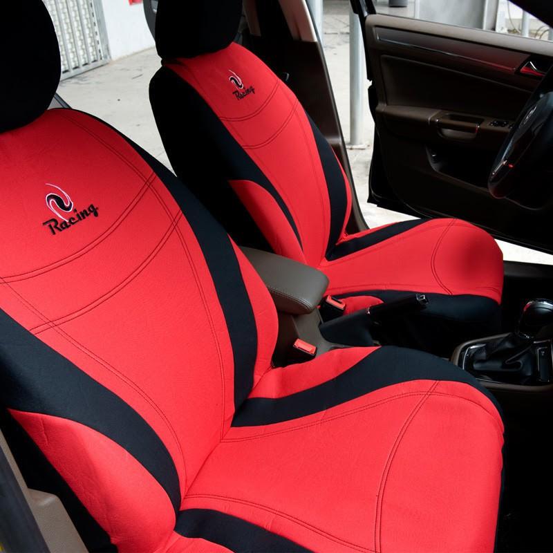 Bộ 2 áo trùm bao ghế xe ô tô, xe hơi kiểu thể thao chống nóng Racing ( Xanh và Đỏ )