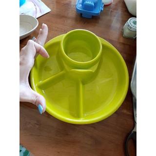 Dụng cụ ăn dặm ❤️HỮU ÍCH❤️ Combo: 1 Khay ăn dặm tròn 4 ngăn Inomata Nhật và Bộ 6 Khuôn ép cơm bento cho bé