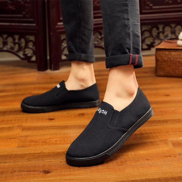 Giày Lười Vải Nam Hàn Quốc đen