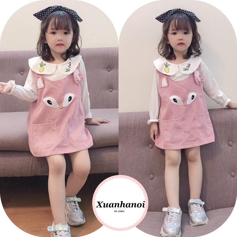 Set áo và váy yếm nhung tăm bé gái XHN364