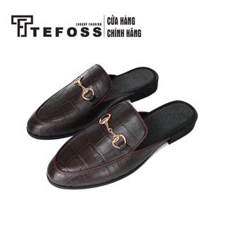 Giày sục nam da bò thật in vân cá sấu Tefoss HT01 size 38-43 thumbnail