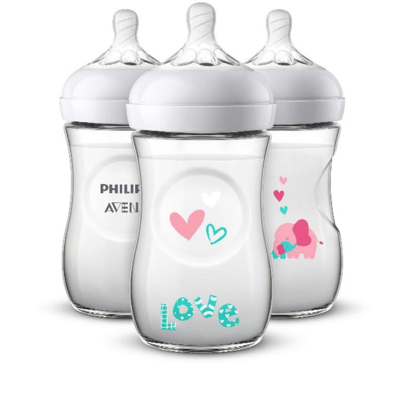 Bình sữa Avent họa tiết voi hồng 260ml