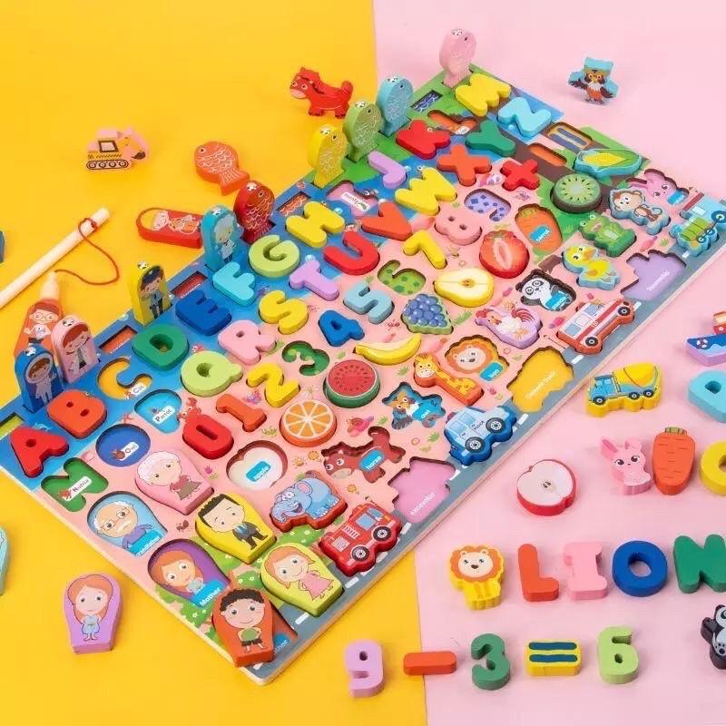 Bảng câu cá 7in1 cho bé học chữ cái, số đếm, hoa quả, động vật, ptgt, nghề nghiệp, gia đình!