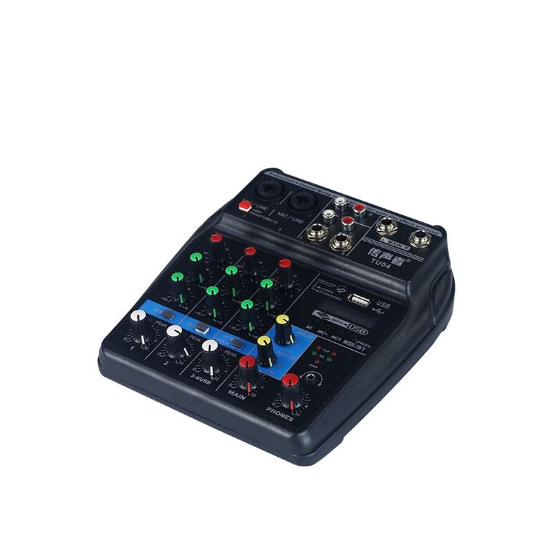 Sound Mixing Console with Bluetooth Record 4 Channels Audio Mixer for Stage Performance Family K