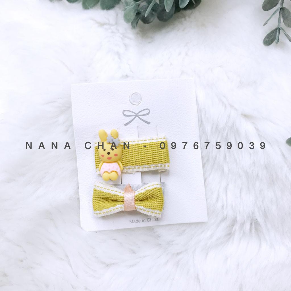 [I013] Set cặp tóc nơ đính nhựa cho bé