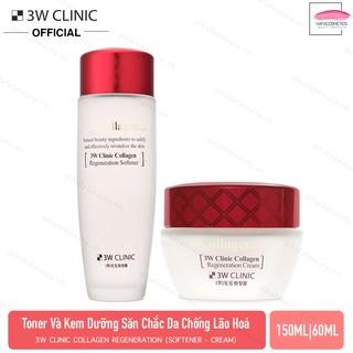 Combo Nước hoa hồng & Kem dưỡng trắng, chống lão hoá 3W Clinic Collagen Regeneration (Softener 150ml + Cream 60ml) thumbnail