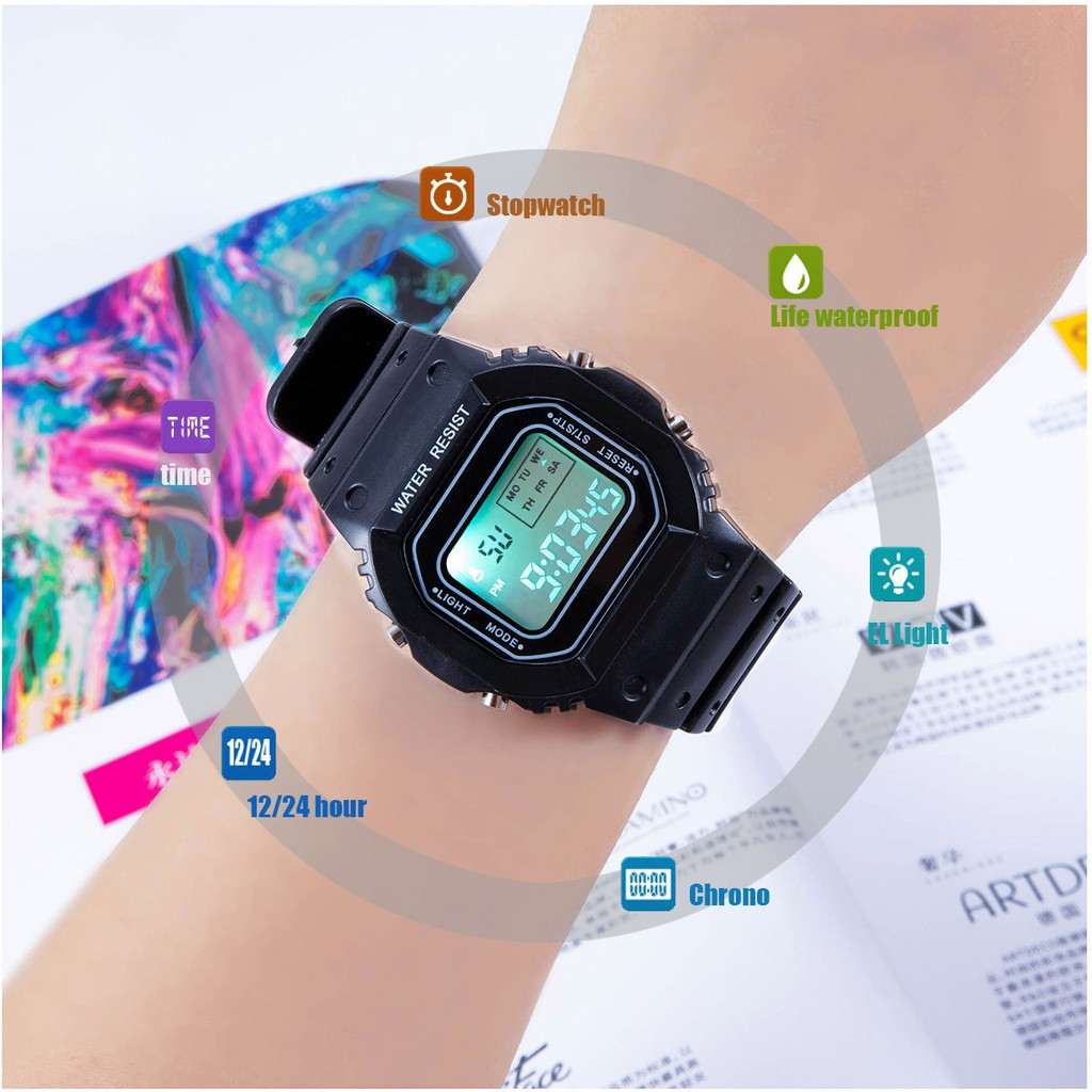 Đồng hồ nữ và nam Tisselly điện tử mặt vuông N911 mẫu thể thao đầy đủ các chức năng v
