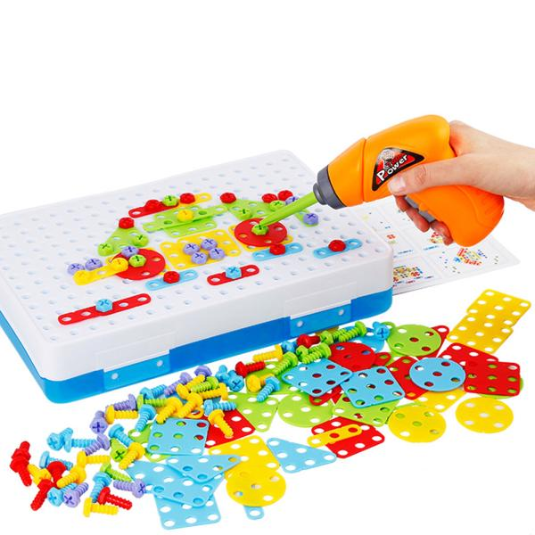 Children Fun Electric Drill Puzzle Toys Disassemble Screw Nut Assembly Combination Toys
