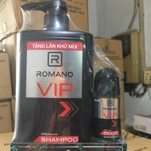 Dầu gội Romano Vip 650g tặng lăn khử mùi(giá bao bì 179k)