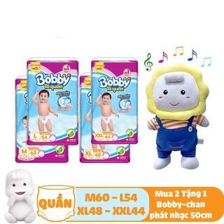 [Tặng bobbychan phát nhạc 50cm]Combo 2 gói tả quần Bobby size M60 L54 XL48 XXL44