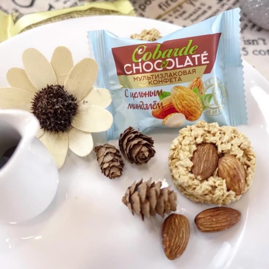 Bánh yến mạch vị hạnh nhân nhập khẩu Nga - Bánh Cobarde Chocolate with  almonds hộp 400g - HSD: 12 tháng