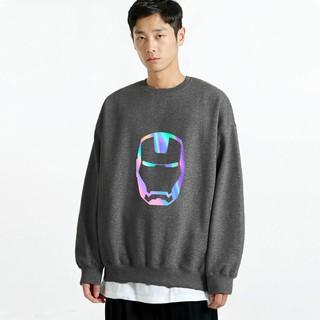 Áo Sweater phản quang nỉ Unisex form rộng dài tay Iron Man AS23 Lotus nam nữ Oversize phong cách Hàn Quốc trend mùa xuân