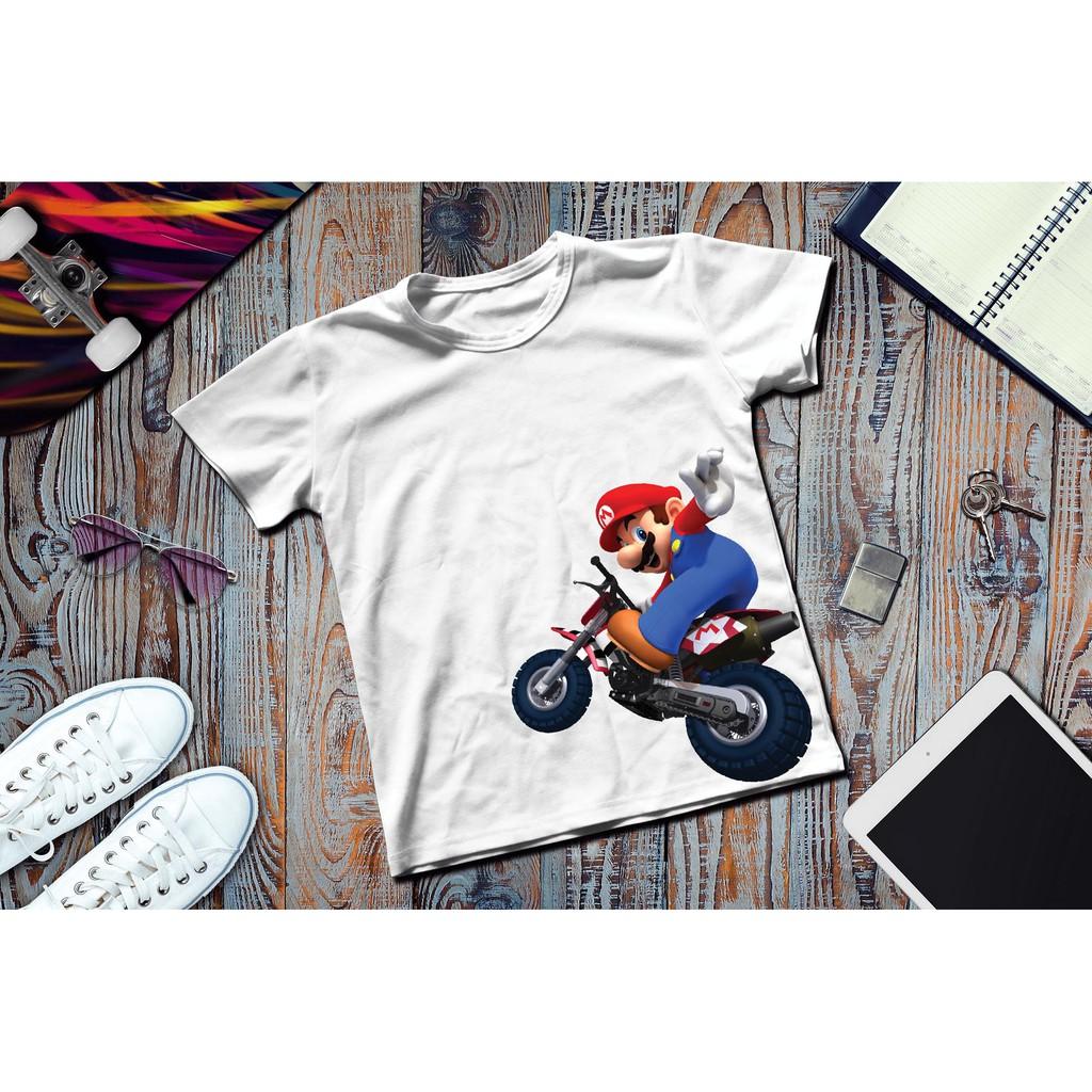 Áo thun in hình Super Mario lái moto