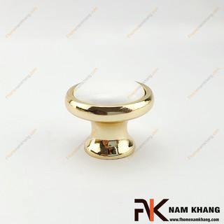 Núm cửa tủ tròn bằng sứ trắng viền vàng NK020L-TV (Màu Vàng) thumbnail