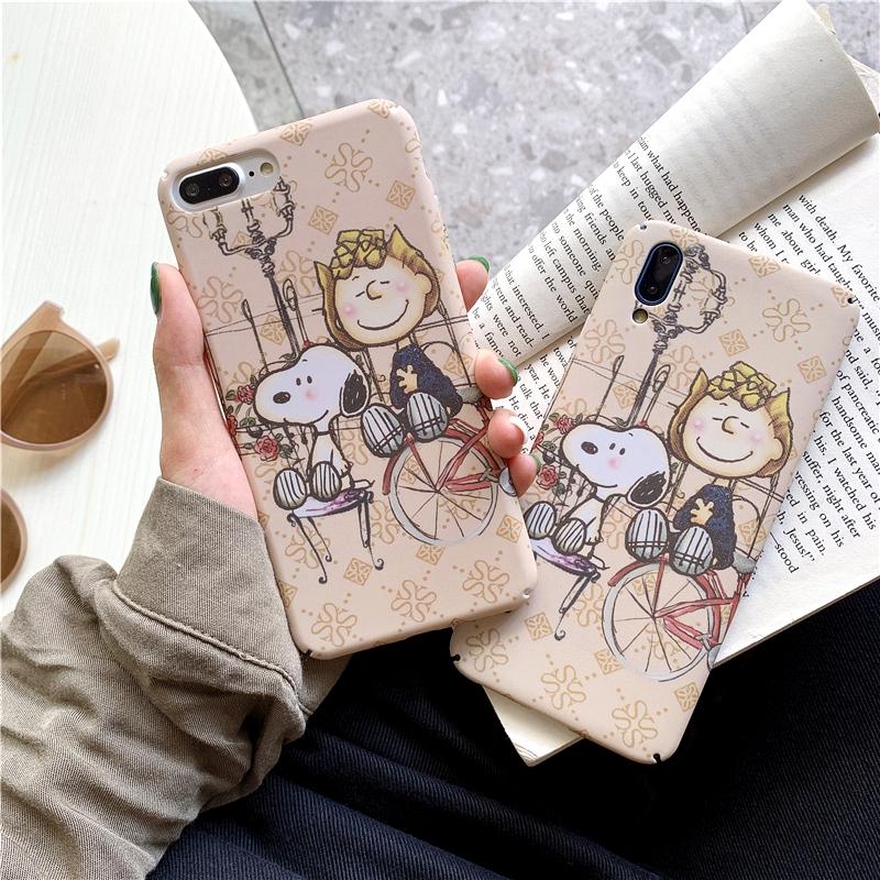 Ốp lưng điện thoại nhựa cứng hoạt hình Oppo A3s A39 A73 A57 F9 F5 F1s Vivo V5 V9 V7 hình Snoopy and Charlie cartoon