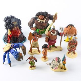 10pcs Anime Moana Action Figure Toy Dolls Kids Toys Cake Topper Decor Gift