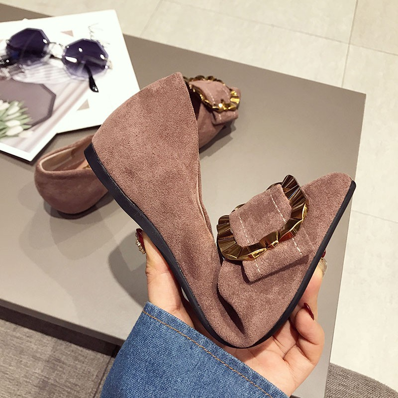 Single shoes female flat-bottomed pointed spring Korean buckle shallow mouth soft bottom shoes one foot peas shoes