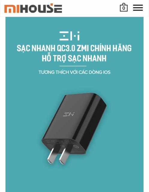 Củ Sạc nhanh QC 3.0 18W XIAOMI ZMI HA612 QC 3.0 18W - chuẩn An Toàn 3C Quốc Tế