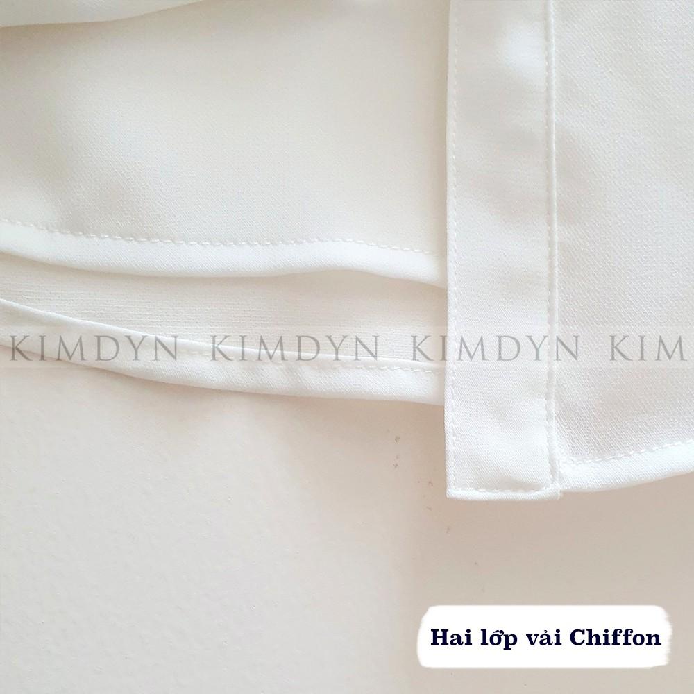 Áo sơ mi nữ hai lớp Chiffon rũ thanh lịch trắng - đen - xanh lam [KDASM05]