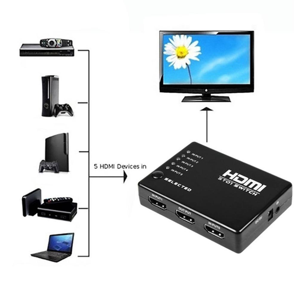 5x1HDMI Switch 4K Full HD IR Remote Selector Video Audio Splitter Converter