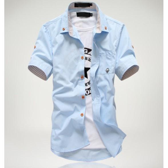 Bộ sưu tập áo sơ mi ngắn tay nam Hàn Quốc có túi