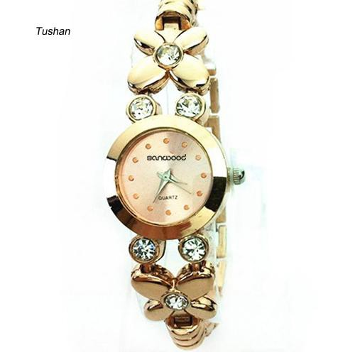 TUSH_1Pc Women Fashion Rhinestone Round Dial Flower Hollow Band Bracelet Wrist Watch