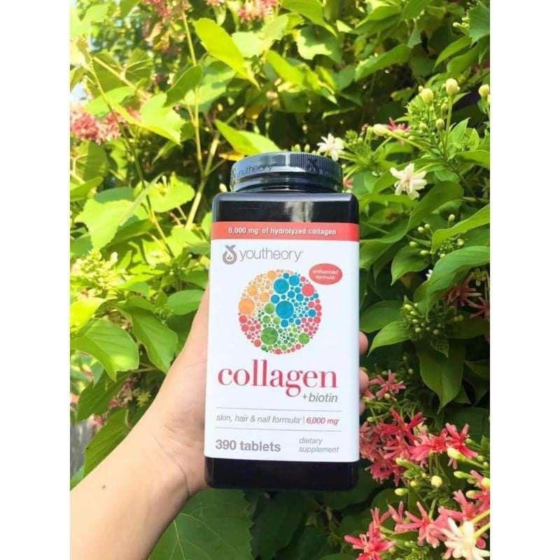 Viên uống Collagen Youtheory+ Biotin mỹ 390 viên
