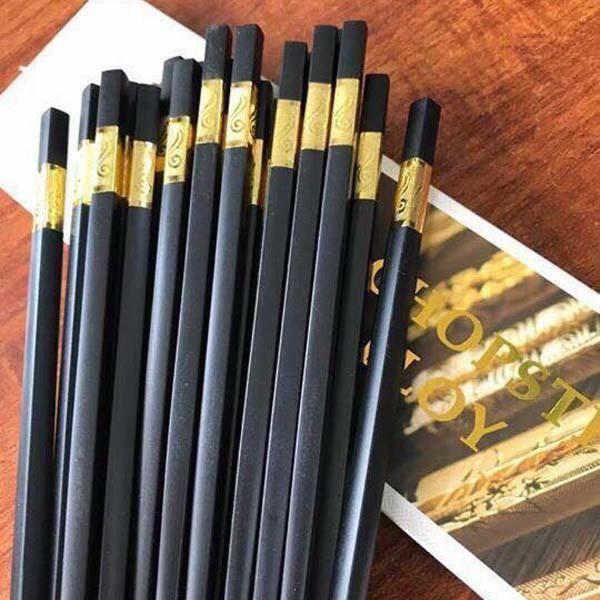 Bộ 10 đôi đũa ăn hợp kim đầu bọc vàng,bạc