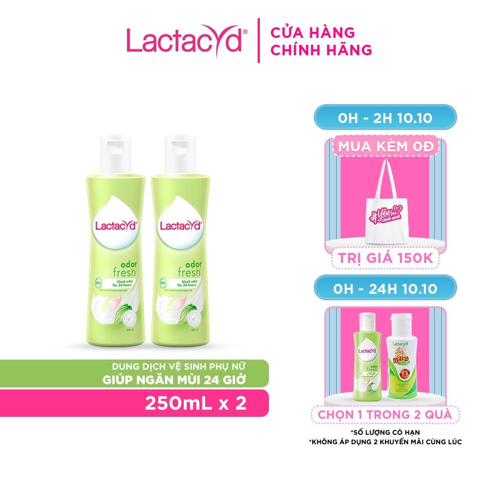 [Mã FMCGMALL giảm 8% đơn từ 250K] Bộ 2 chai Dung Dịch Vệ Sinh Phụ nữ Lactacyd Odor Fresh Ngăn Mùi 24H 250ml/chai