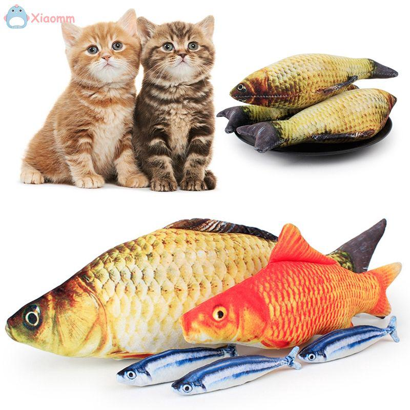 Soft Flannel Vivid Funny Fish Shape Cat Kitten Playing Toy Pillow Doll .mm