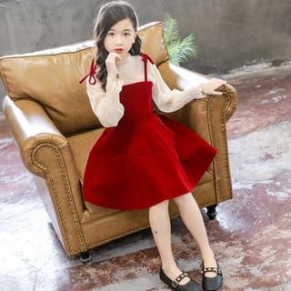 Váy nhung đỏ dễ thương bé gái, set Váy kèm Áo. Tặng kèm băng đô cùng màu