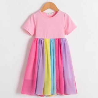 Đầm công chúa dự tiệc màu cầu vồng xinh xắn cho trẻ từ 2 - 6 tuổi