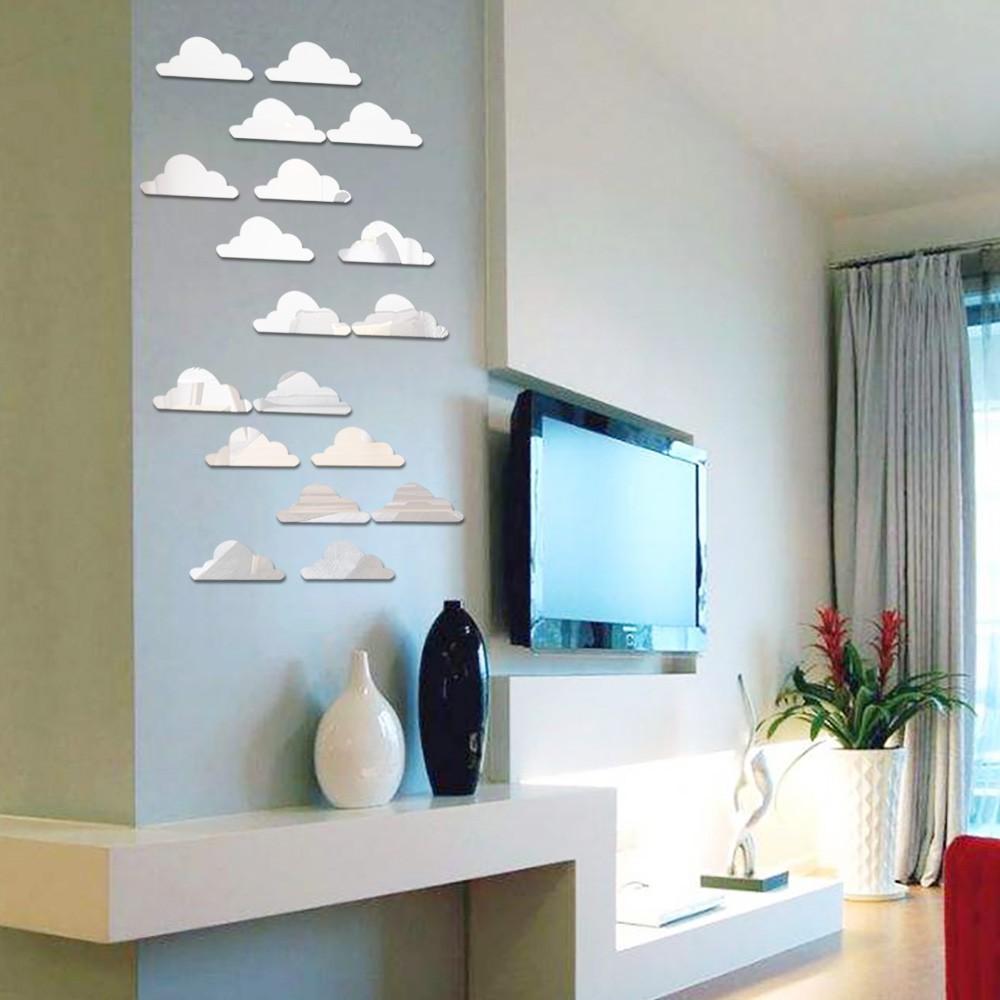 DIY 3D Cloud Acrylic Modern Mirror Decal Art Mural Wall Sticker Home Decor