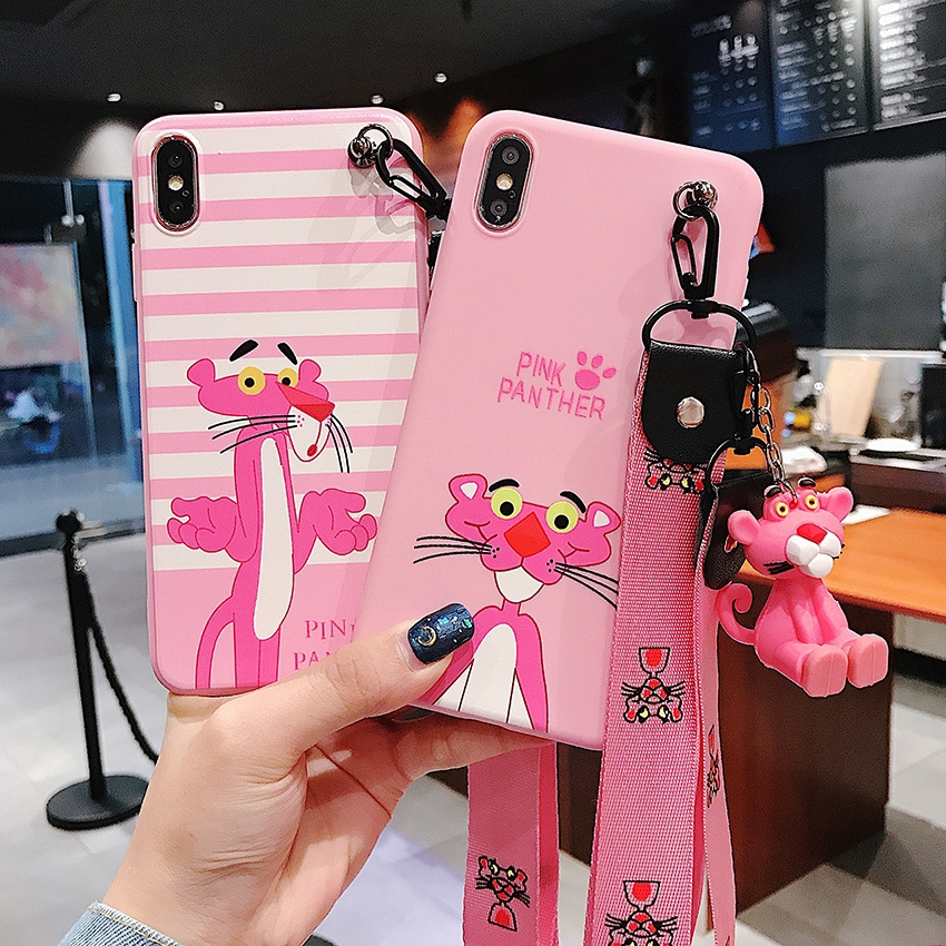 Case Vivo S1 Z5X V15 V11i Y91C Y91 Y93 Y95 Y55 Y71 Y81 Y83 V5 V7 V9 V5plus Pink Panther Soft Case With Hand Rope
