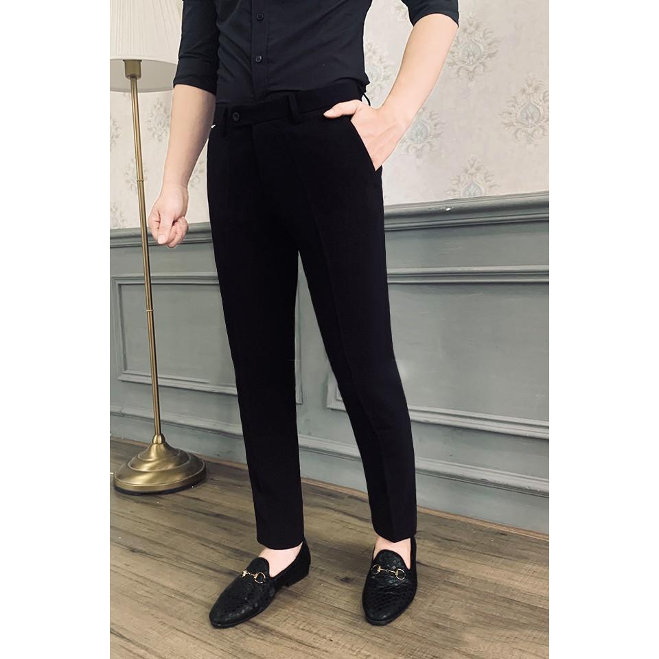 Quần âu nam đen dáng ôm co giãn nhẹ cao cấp QR01