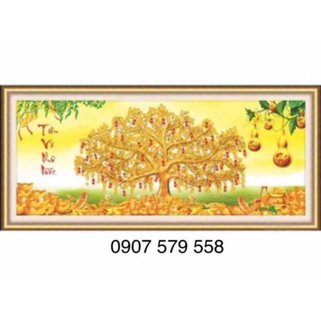 Tranh thêu chữ thập cây tiền 53530 kt 122