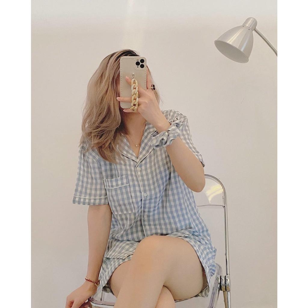 [Có clip review] Bộ ngủ pijama kẻ sọc caro tặng kèm scrunchies hot hit / Bộ ngủ pyjama caro