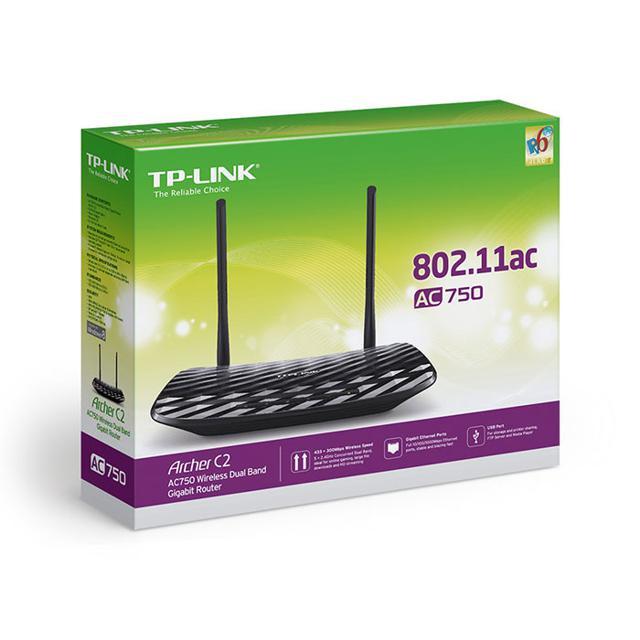 Bộ phát không dây TP-Link Archer C2 - Gigabit Router Wifi Băng TầnKép AC750 (Đen)