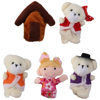 Lot of 5 pcs Finger Puppets Fairytale Fairy Tale Goldilocks and Three Bears