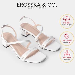 Giày sandal cao gót Erosska mũi vuông phối dây mảnh cao 3cm màu trắng - EB031