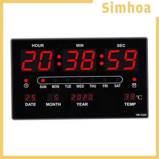 [SIMHOA] Digital 2.36 inch Display LED Wall Alarm Clock Calendar Temperature Humidity