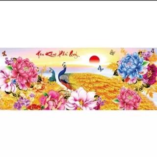 TRANH TRÊU CHỮ THẬP HOA KHAI PHÚ QUÝ KT 93 x43 cm