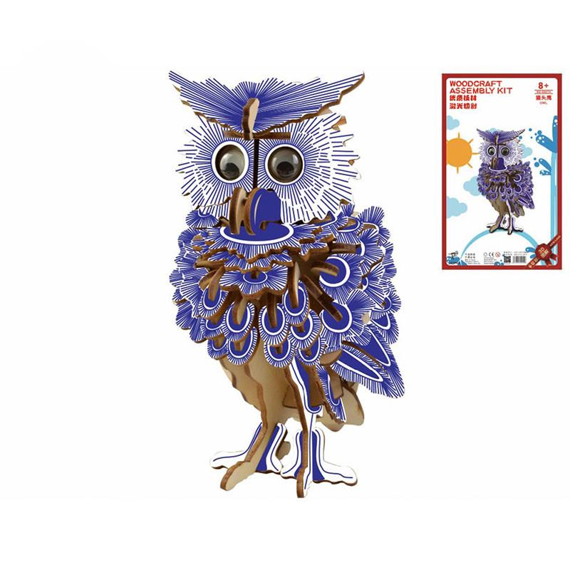 Owl Puzzle Jigsaw Woodcraft Kids Kit Toy Model DIY Construction Puzzle