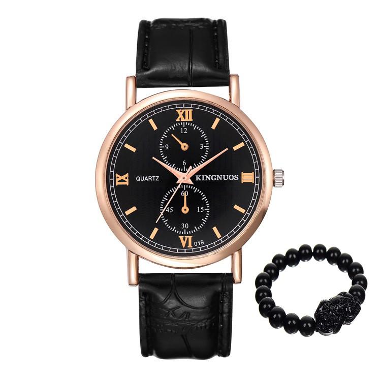 Đồng hồ nam KING NUOS 019 dây da thời trang (mặt đen, mặt trắng) + Tặng vòng tay tỳ hưu may mắn phá