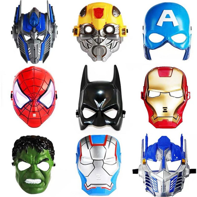 Mặt nạ siêu nhân không đèn nhạc các nhân vật Người Nhện, Người sắt, Người Dơi, Superman, Siêu nhân Gao, Người sắ