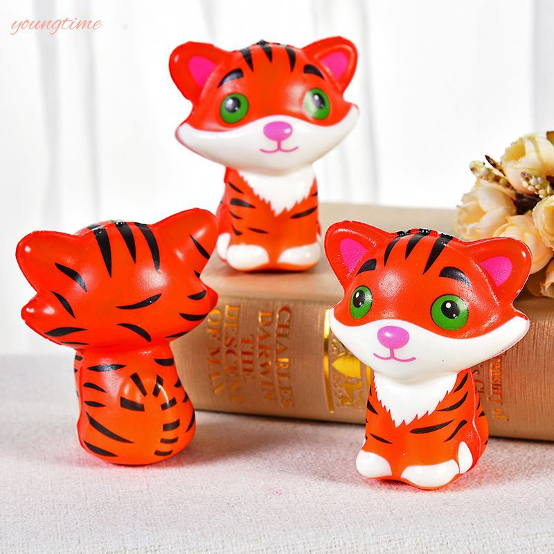 young New color printing slow rebound toy tiger PU foam decompression simulation animal young