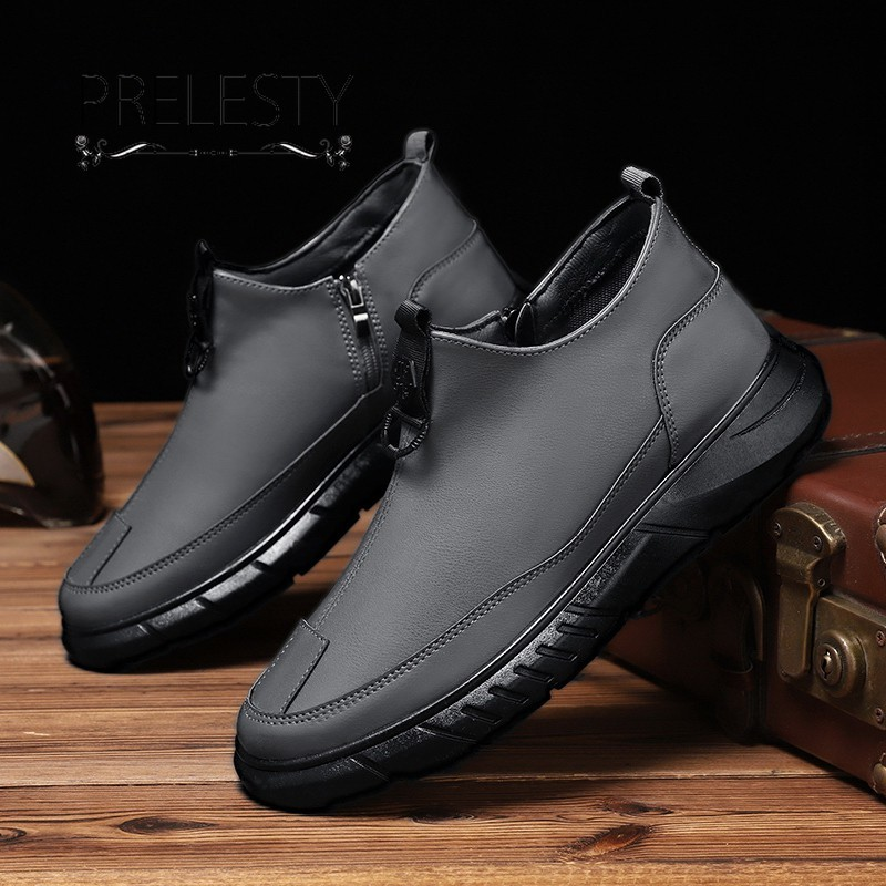 Handsome Design Winter Fashion Men's Ankle Boots Shoes Lightweight Zipper Formal Business