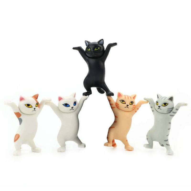 SHAS 5pcs Carrying Coffin Cat Action Figures Interesting Cat Dolls Creative Ornaments